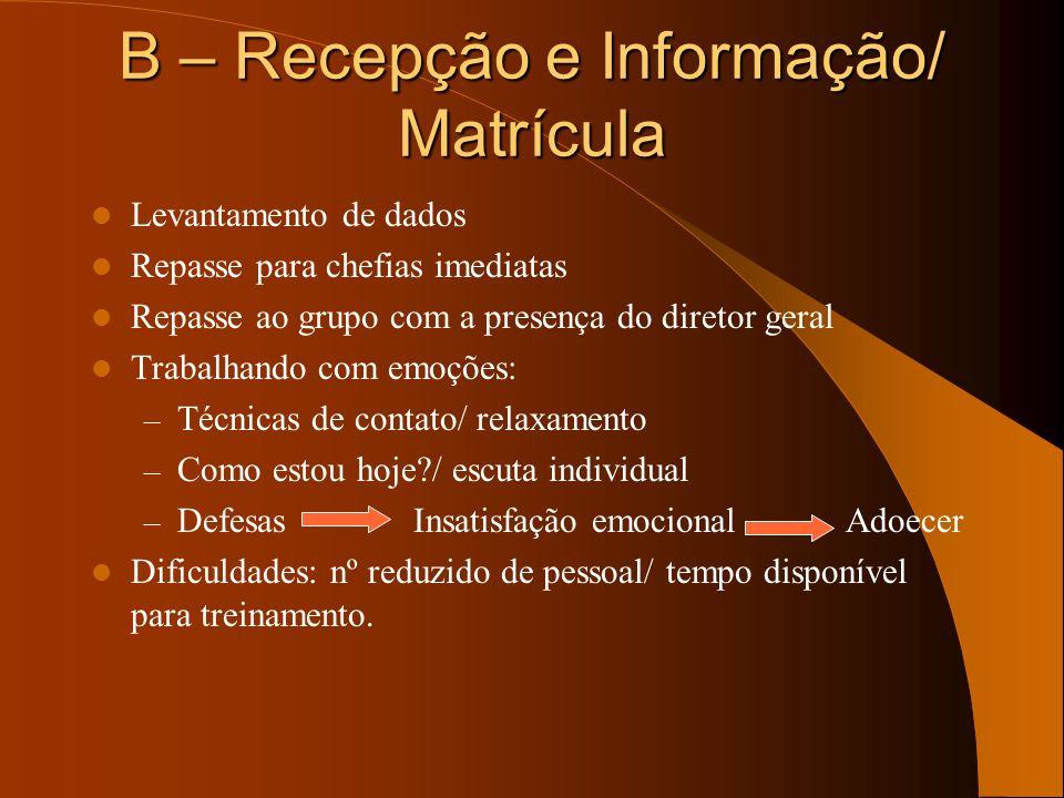 B – Recepção e Informação/ Matrícula Levantamento de dados Repasse para chefias imediatas Repasse ao grupo com a presença do diretor geral Trabalhando