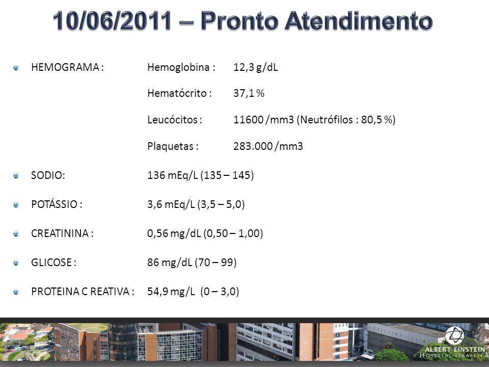 HEMOGRAMA : Hemoglobina : 12,3 g/dL Hematócrito : 37,1 % Leucócitos : 11600 /mm3 (Neutrófilos : 80,5 %) Plaquetas : 283.000 /mm3 SODIO: 136 mEq/L (135