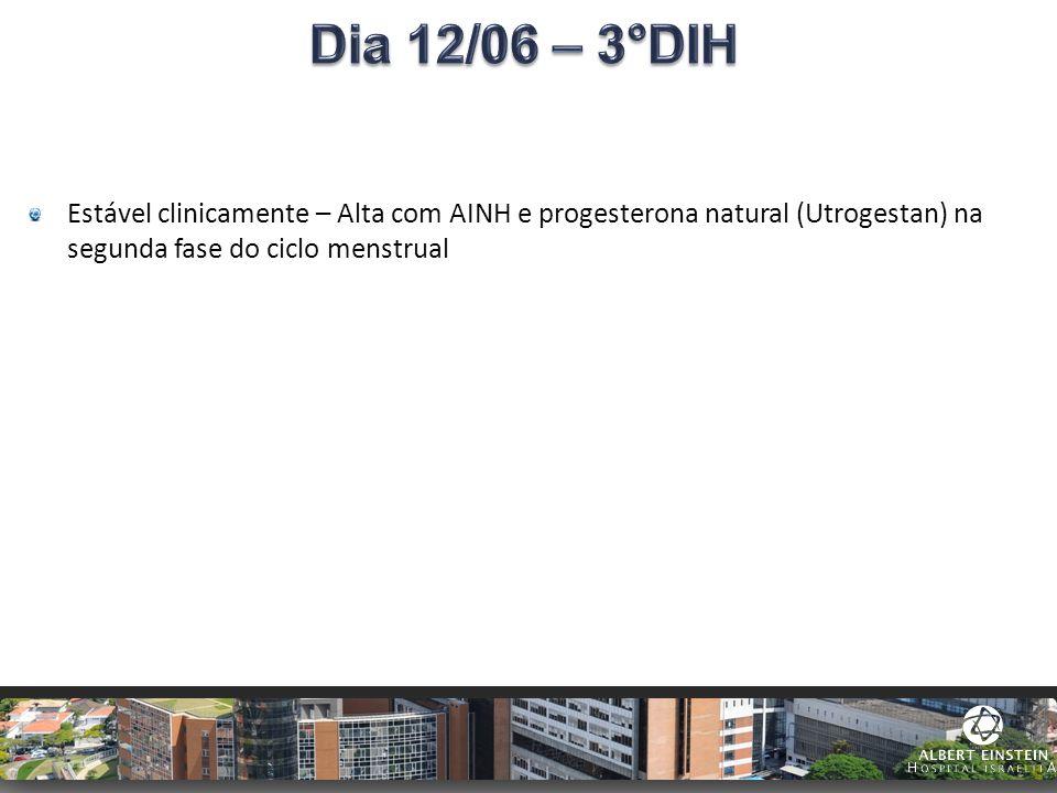 Estável clinicamente – Alta com AINH e progesterona natural (Utrogestan) na segunda fase do ciclo menstrual