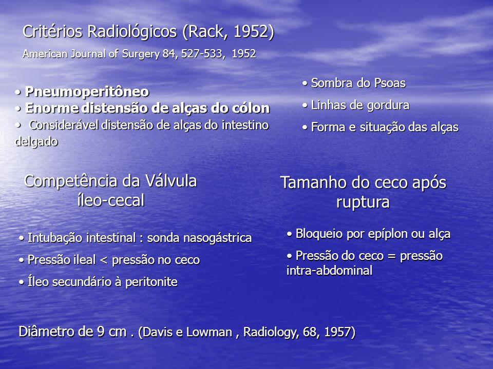 Critérios Radiológicos (Rack, 1952) American Journal of Surgery 84, 527-533, 1952 Pneumoperitôneo Pneumoperitôneo Enorme distensão de alças do cólon Enorme distensão de alças do cólon Considerável distensão de alças do intestino delgado Considerável distensão de alças do intestino delgado Sombra do Psoas Sombra do Psoas Linhas de gordura Linhas de gordura Forma e situação das alças Forma e situação das alças Competência da Válvula íleo-cecal Tamanho do ceco após ruptura Intubação intestinal : sonda nasogástrica Intubação intestinal : sonda nasogástrica Pressão ileal < pressão no ceco Pressão ileal < pressão no ceco Íleo secundário à peritonite Íleo secundário à peritonite Bloqueio por epíplon ou alça Bloqueio por epíplon ou alça Pressão do ceco = pressão intra-abdominal Pressão do ceco = pressão intra-abdominal Diâmetro de 9 cm.