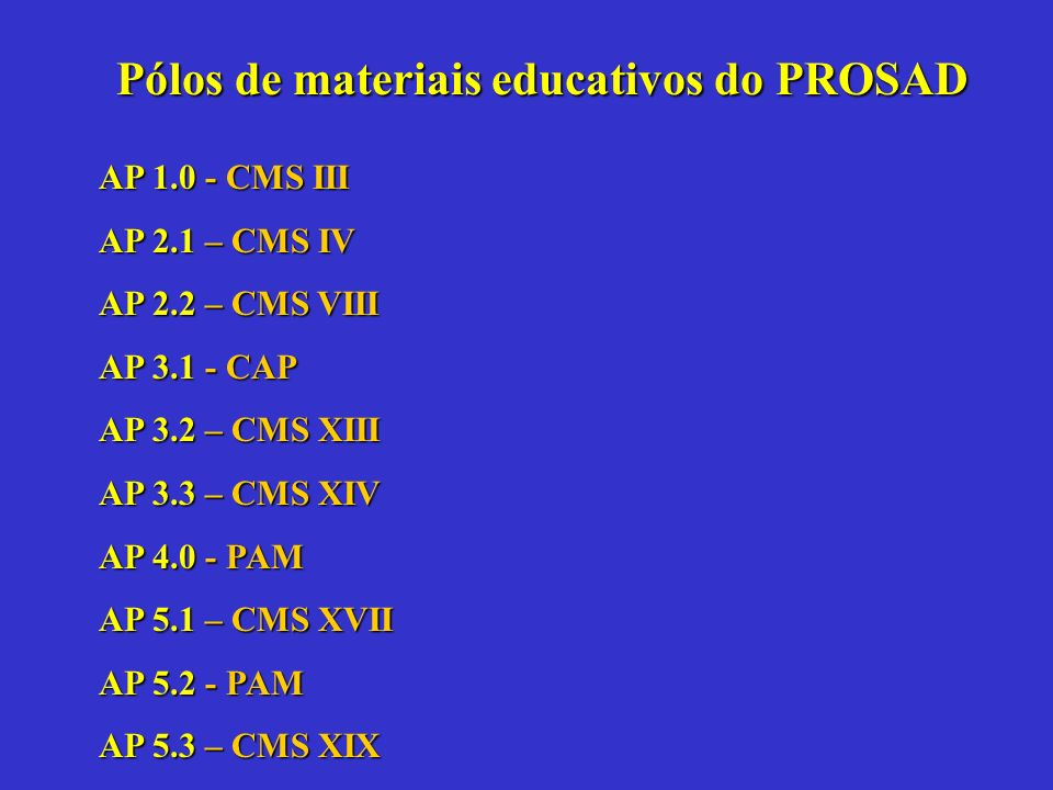 AP 1.0 - CMS III AP 2.1 – CMS IV AP 2.2 – CMS VIII AP 3.1 - CAP AP 3.2 – CMS XIII AP 3.3 – CMS XIV AP 4.0 - PAM AP 5.1 – CMS XVII AP 5.2 - PAM AP 5.3