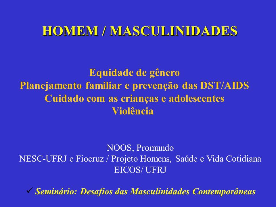 HOMEM / MASCULINIDADES NOOS, Promundo NESC-UFRJ e Fiocruz / Projeto Homens, Saúde e Vida Cotidiana EICOS/ UFRJ Equidade de gênero Planejamento familia