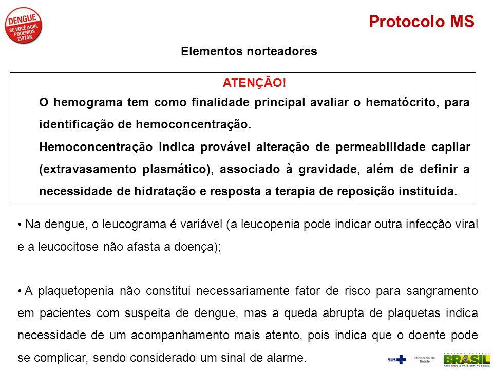 ATENÇÃO! O hemograma tem como finalidade principal avaliar o hematócrito, para identificação de hemoconcentração. Hemoconcentração indica provável alt