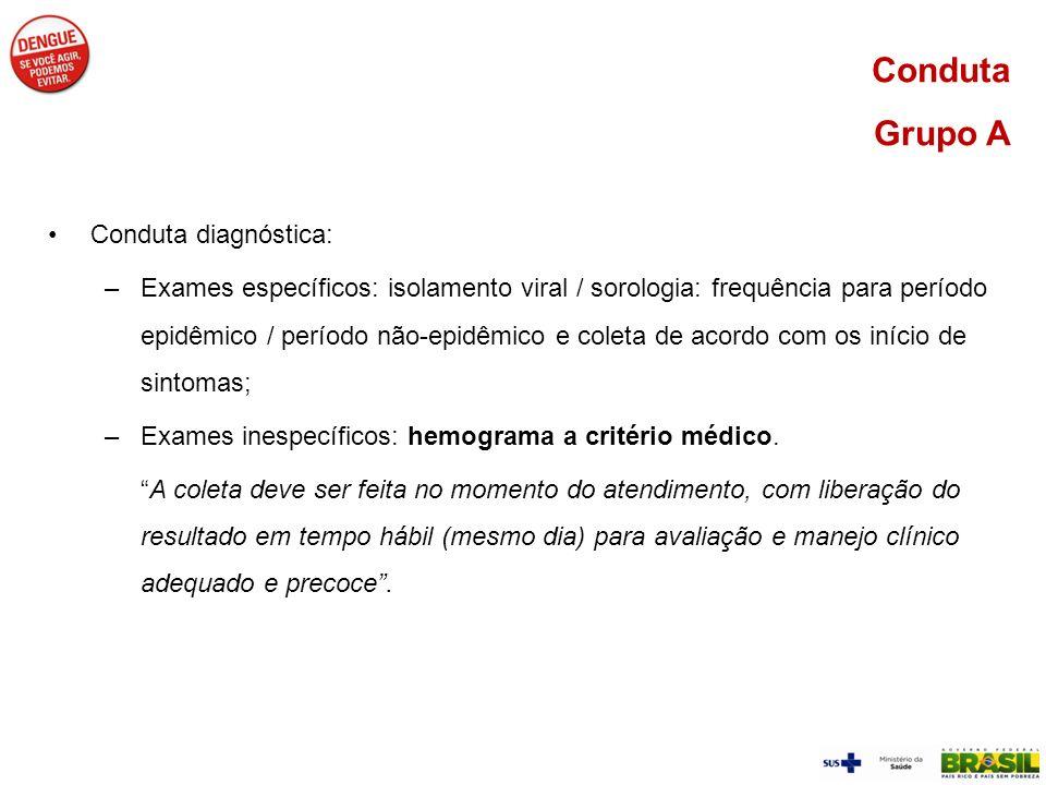 Conduta diagnóstica: –Exames específicos: isolamento viral / sorologia: frequência para período epidêmico / período não-epidêmico e coleta de acordo c