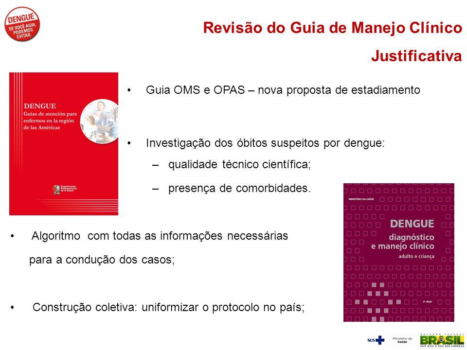 Guia OMS e OPAS – nova proposta de estadiamento Investigação dos óbitos suspeitos por dengue: –qualidade técnico científica; –presença de comorbidades