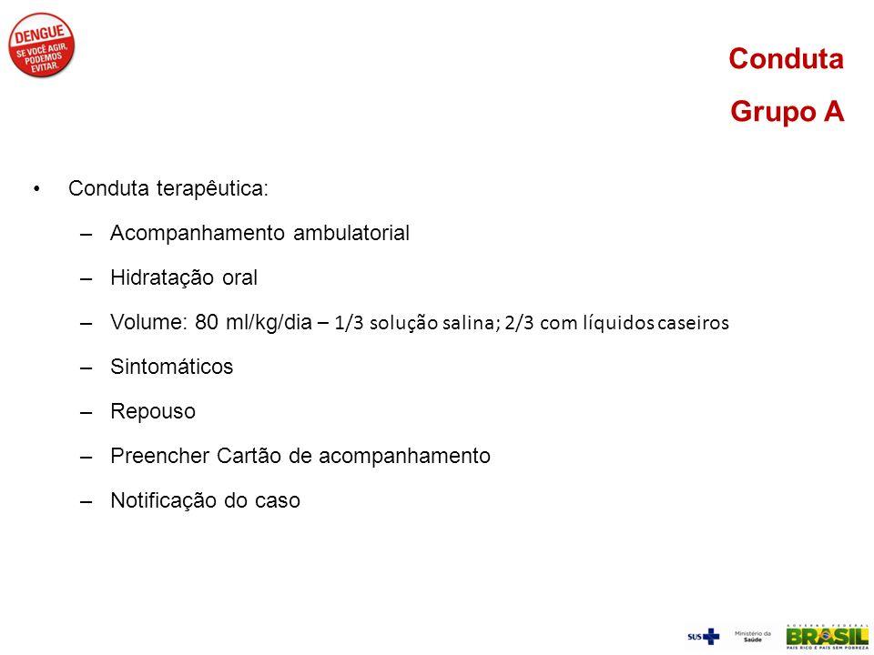 Conduta terapêutica: –Acompanhamento ambulatorial –Hidratação oral –Volume: 80 ml/kg/dia – 1/3 solução salina; 2/3 com líquidos caseiros –Sintomáticos