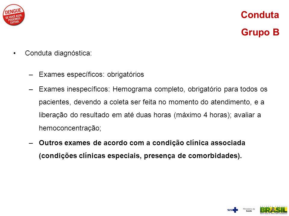 Conduta Grupo B Conduta diagnóstica: –Exames específicos: obrigatórios –Exames inespecíficos: Hemograma completo, obrigatório para todos os pacientes,