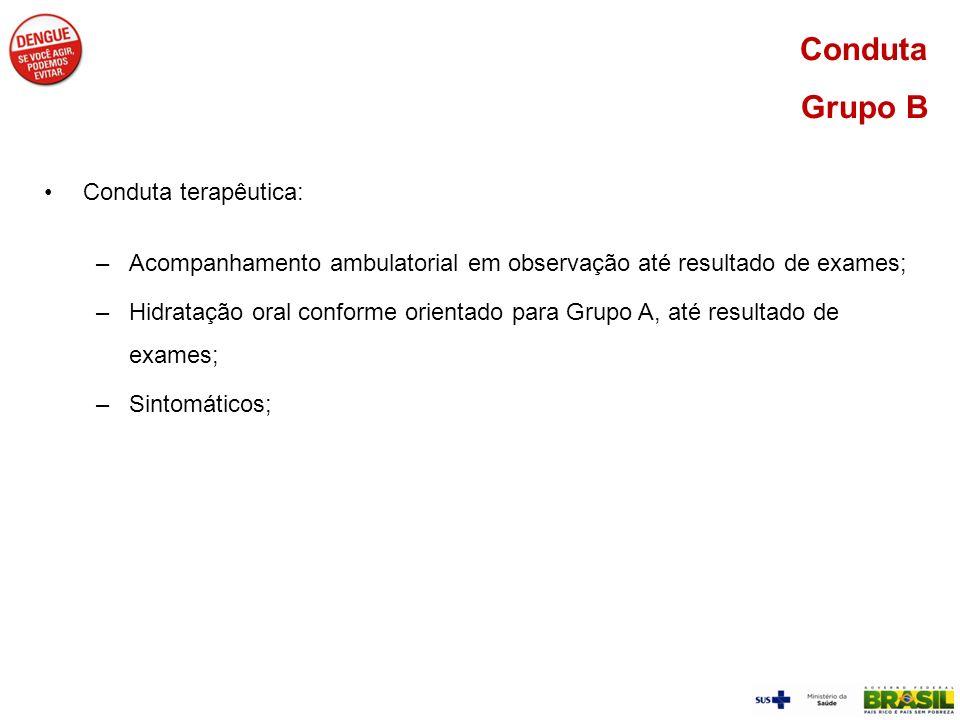 Conduta Grupo B Conduta terapêutica: –Acompanhamento ambulatorial em observação até resultado de exames; –Hidratação oral conforme orientado para Grup
