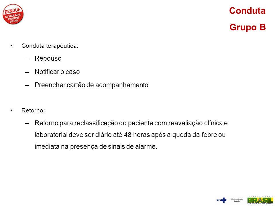 Conduta terapêutica: –Repouso –Notificar o caso –Preencher cartão de acompanhamento Retorno: –Retorno para reclassificação do paciente com reavaliação
