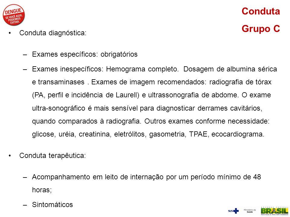 Conduta diagnóstica: –Exames específicos: obrigatórios –Exames inespecíficos: Hemograma completo. Dosagem de albumina sérica e transaminases. Exames d