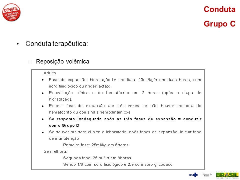 Conduta terapêutica: –Reposição volêmica