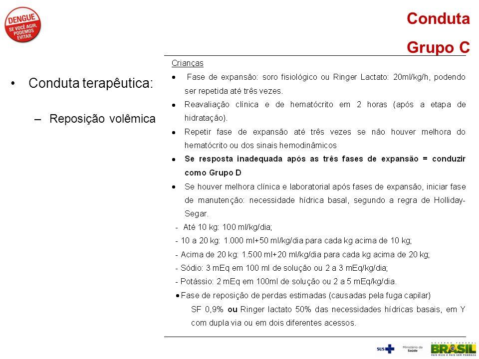Conduta Grupo C Conduta terapêutica: –Reposição volêmica