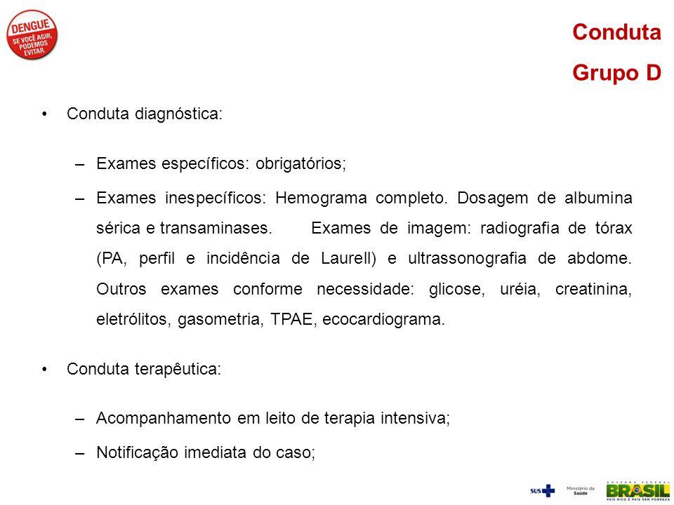Conduta diagnóstica: –Exames específicos: obrigatórios; –Exames inespecíficos: Hemograma completo. Dosagem de albumina sérica e transaminases. Exames