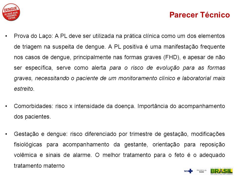 Prova do Laço: A PL deve ser utilizada na prática clínica como um dos elementos de triagem na suspeita de dengue. A PL positiva é uma manifestação fre