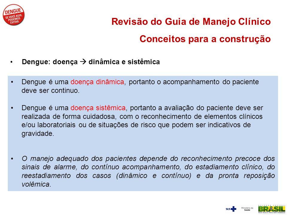 Revisão do Guia de Manejo Clínico Conceitos para a construção Dengue: doença dinâmica e sistêmica Dengue é uma doença dinâmica, portanto o acompanhame
