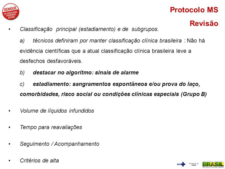 Protocolo MS Revisão Classificação principal (estadiamento) e de subgrupos. a)técnicos definiram por manter classificação clínica brasileira : Não há