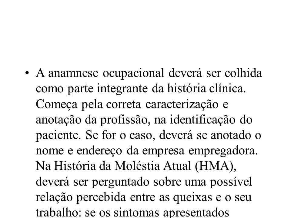 A anamnese ocupacional deverá ser colhida como parte integrante da história clínica.