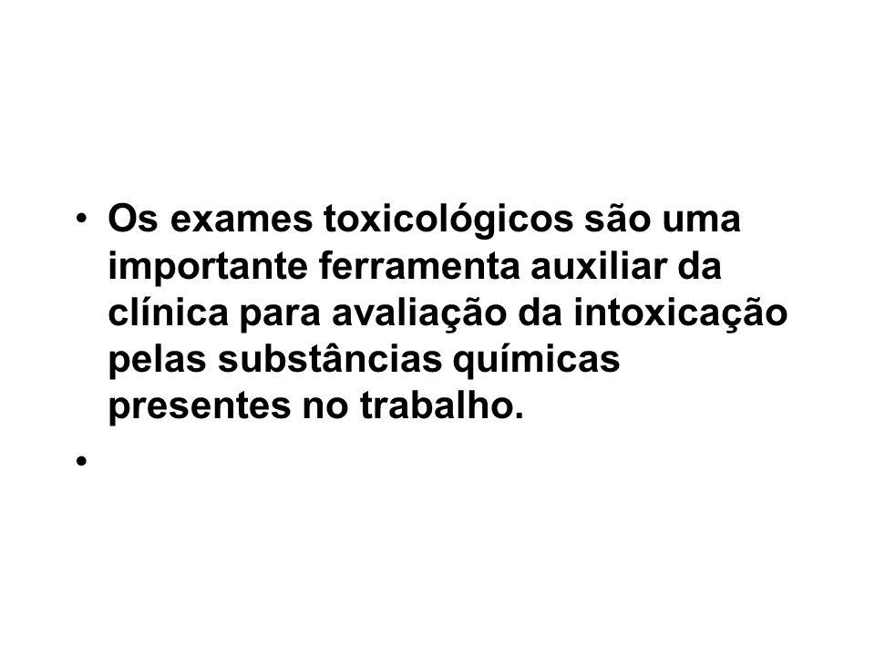 Os exames toxicológicos são uma importante ferramenta auxiliar da clínica para avaliação da intoxicação pelas substâncias químicas presentes no trabalho.