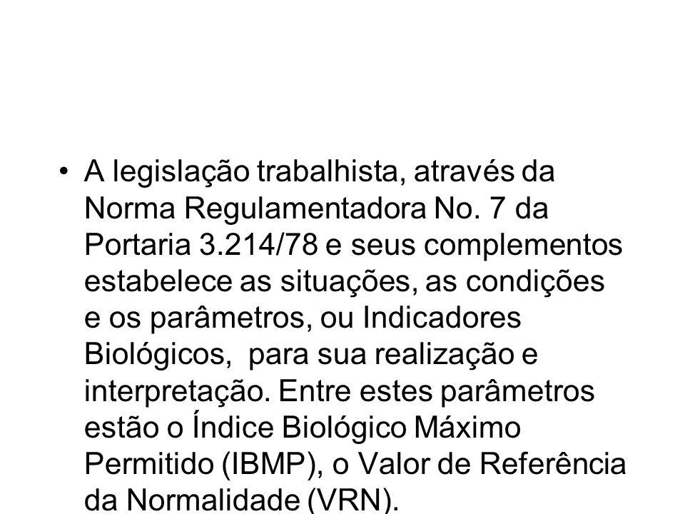 A legislação trabalhista, através da Norma Regulamentadora No.