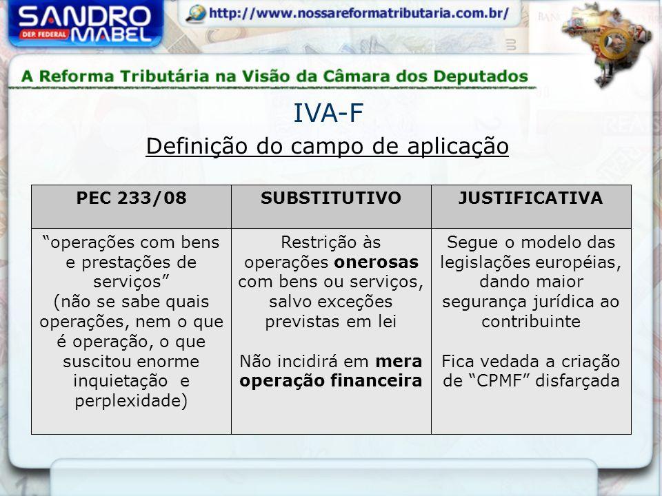 Definição do campo de aplicação PEC 233/08SUBSTITUTIVOJUSTIFICATIVA operações com bens e prestações de serviços (não se sabe quais operações, nem o qu