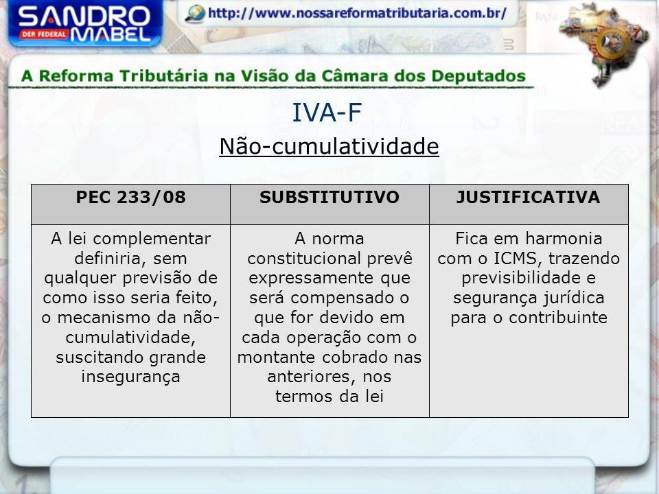 Não-cumulatividade IVA-F PEC 233/08SUBSTITUTIVOJUSTIFICATIVA A lei complementar definiria, sem qualquer previsão de como isso seria feito, o mecanismo