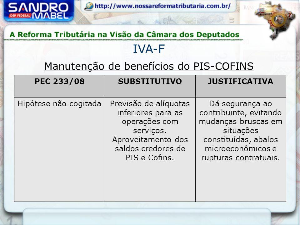 Manutenção de benefícios do PIS-COFINS PEC 233/08SUBSTITUTIVOJUSTIFICATIVA Hipótese não cogitadaPrevisão de alíquotas inferiores para as operações com serviços.