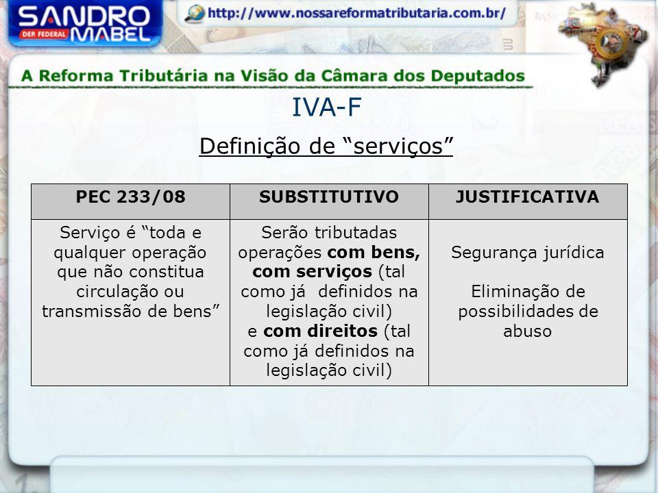 Definição de serviços IVA-F PEC 233/08SUBSTITUTIVOJUSTIFICATIVA Serviço é toda e qualquer operação que não constitua circulação ou transmissão de bens