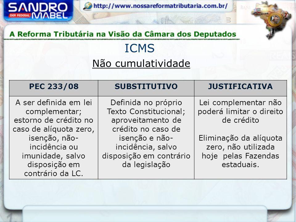PEC 233/08SUBSTITUTIVOJUSTIFICATIVA A ser definida em lei complementar; estorno de crédito no caso de alíquota zero, isenção, não- incidência ou imunidade, salvo disposição em contrário da LC.