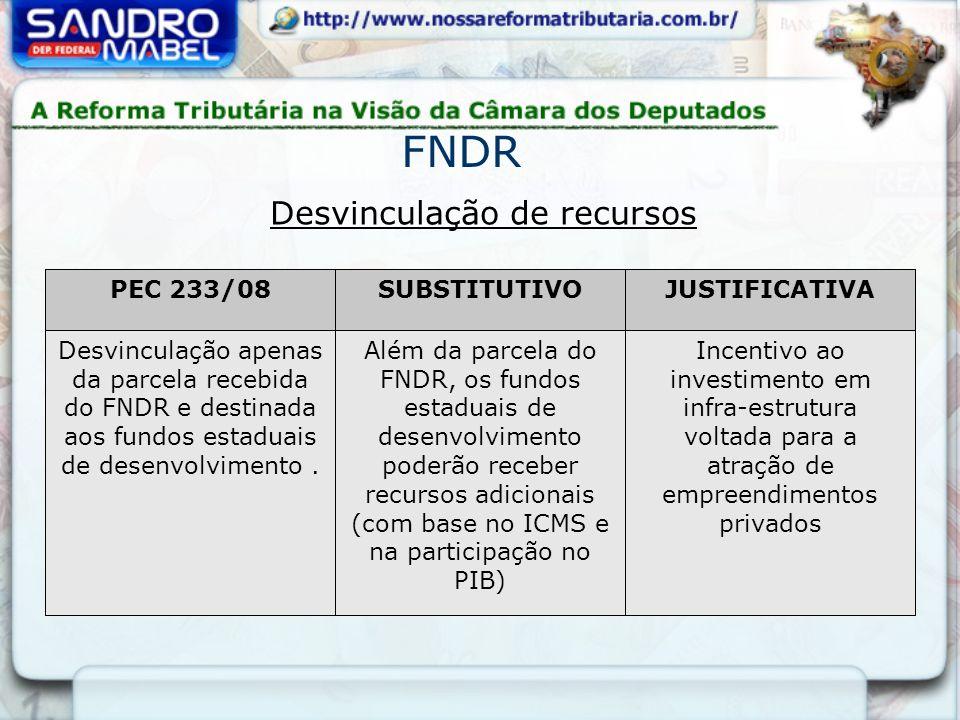 Desvinculação de recursos PEC 233/08SUBSTITUTIVOJUSTIFICATIVA Desvinculação apenas da parcela recebida do FNDR e destinada aos fundos estaduais de des
