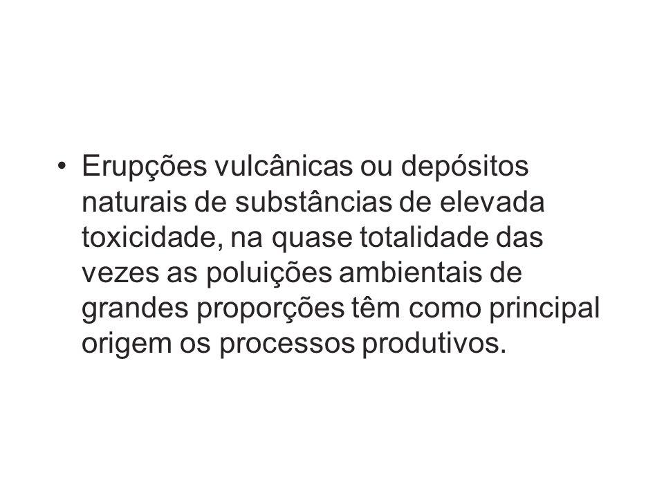 Erupções vulcânicas ou depósitos naturais de substâncias de elevada toxicidade, na quase totalidade das vezes as poluições ambientais de grandes propo