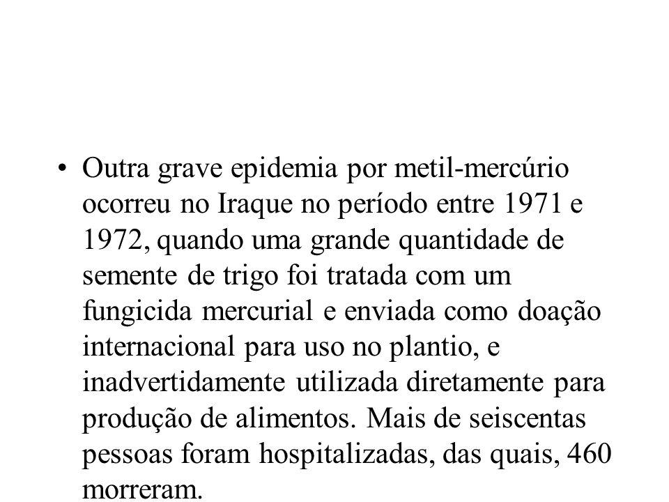 Outra grave epidemia por metil-mercúrio ocorreu no Iraque no período entre 1971 e 1972, quando uma grande quantidade de semente de trigo foi tratada c