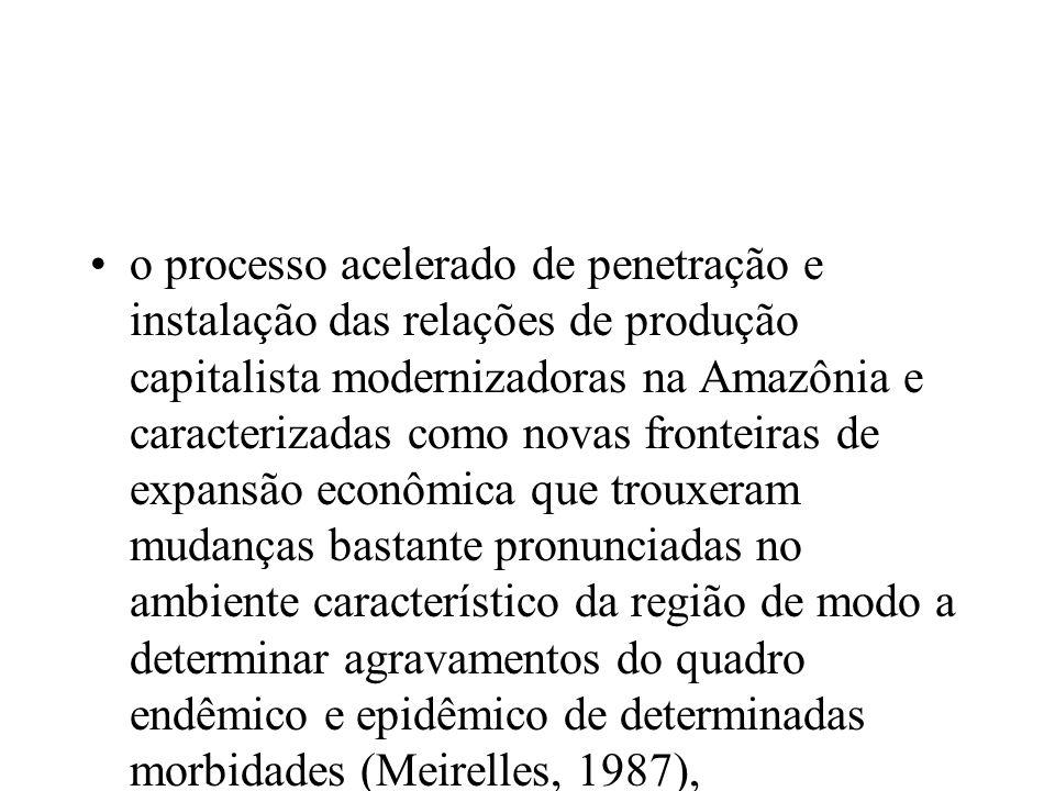 o processo acelerado de penetração e instalação das relações de produção capitalista modernizadoras na Amazônia e caracterizadas como novas fronteiras