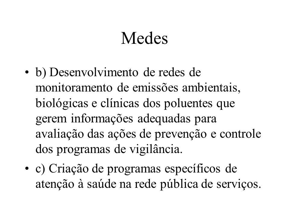 Medes b) Desenvolvimento de redes de monitoramento de emissões ambientais, biológicas e clínicas dos poluentes que gerem informações adequadas para av