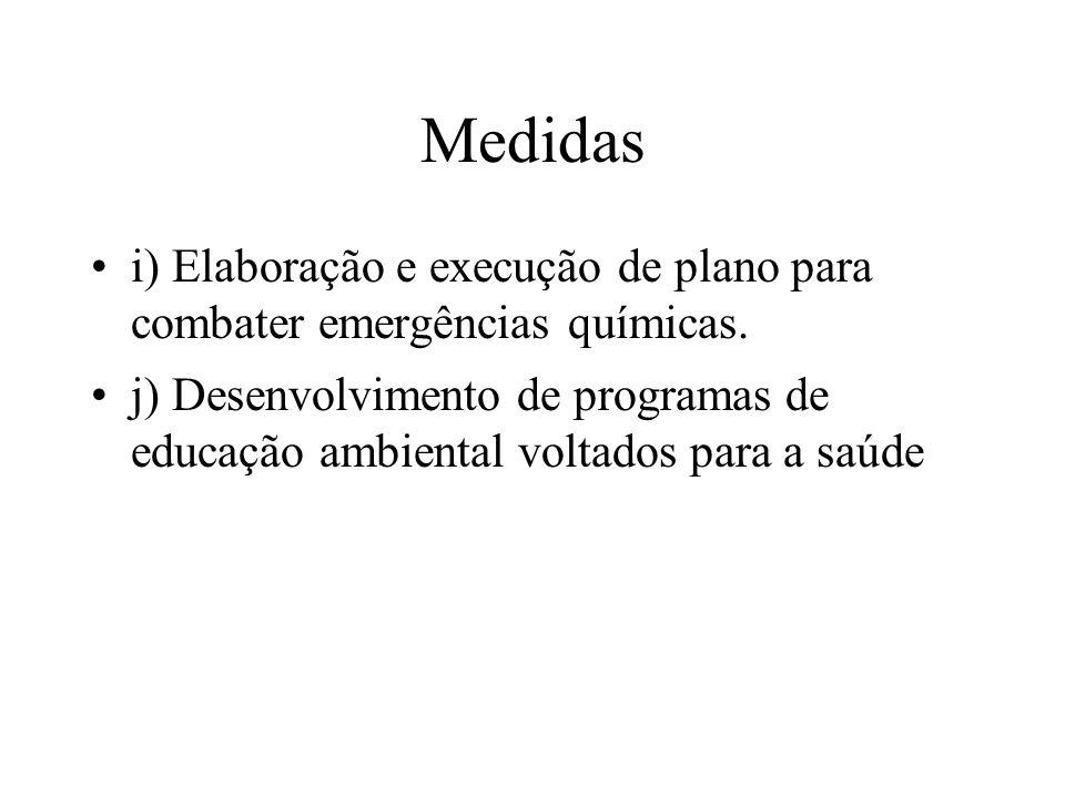 Medidas i) Elaboração e execução de plano para combater emergências químicas. j) Desenvolvimento de programas de educação ambiental voltados para a sa