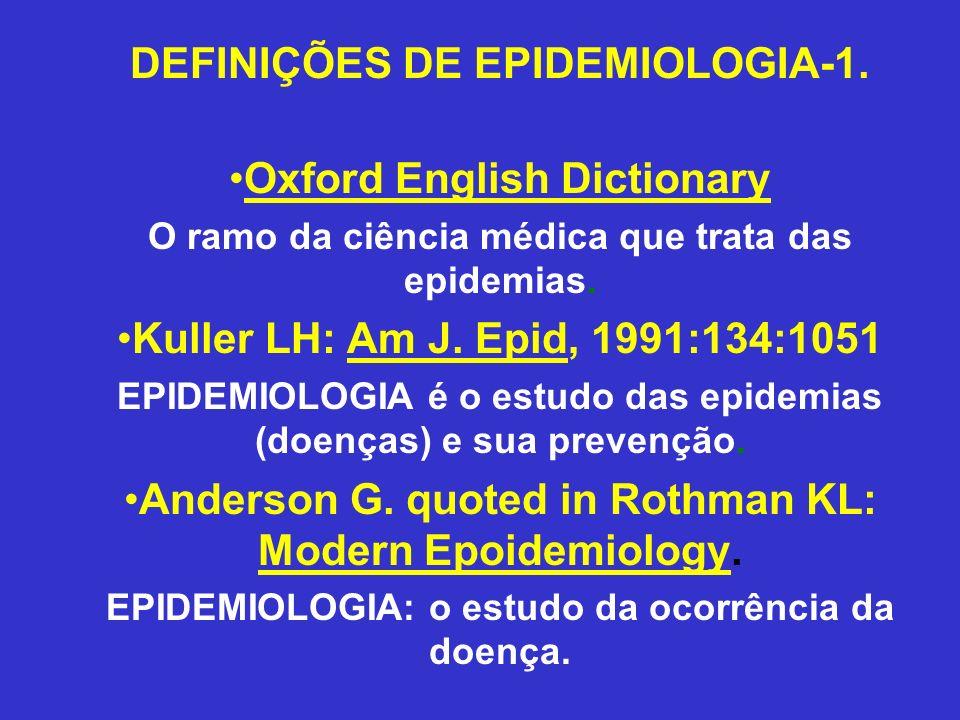 DEFINIÇÕES DE EPIDEMIOLOGIA-1. Oxford English Dictionary O ramo da ciência médica que trata das epidemias. Kuller LH: Am J. Epid, 1991:134:1051 EPIDEM