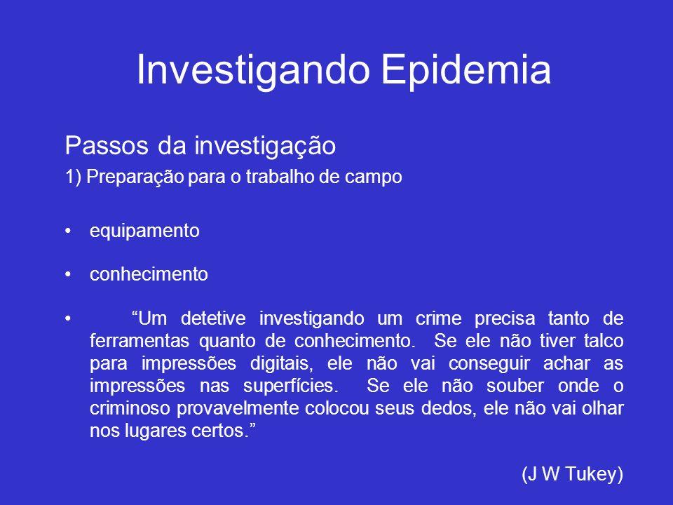 Investigando Epidemia Passos da investigação 1) Preparação para o trabalho de campo equipamento conhecimento Um detetive investigando um crime precisa