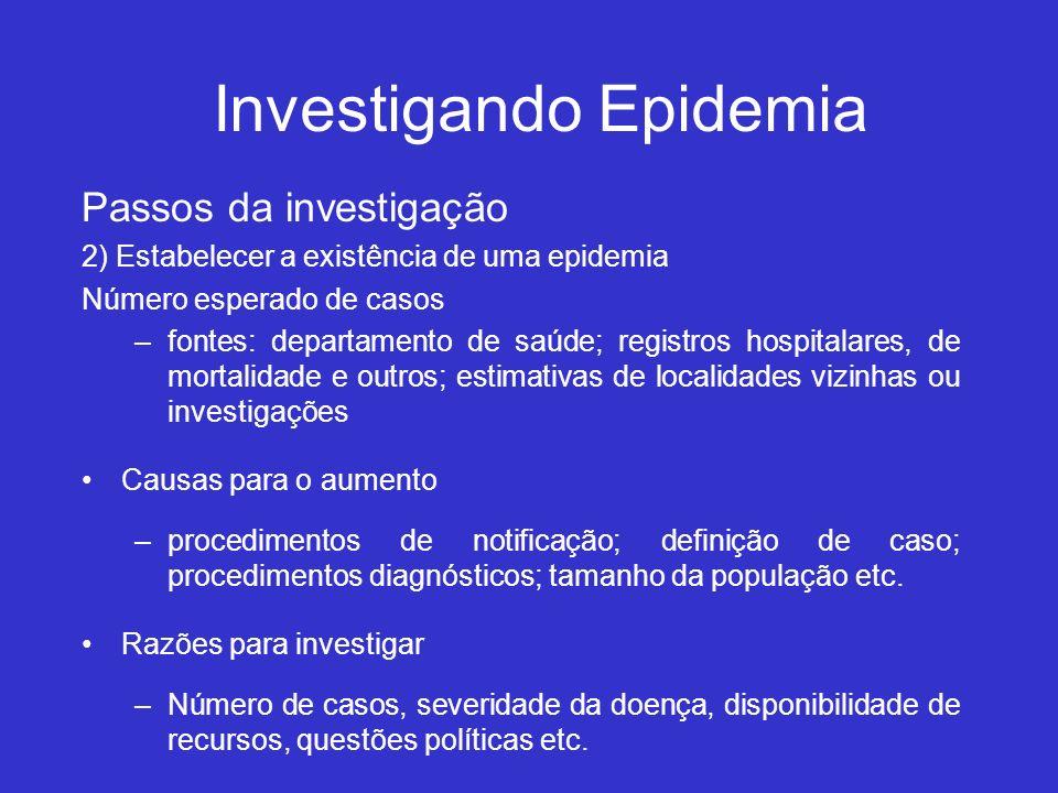 Investigando Epidemia Passos da investigação 2) Estabelecer a existência de uma epidemia Número esperado de casos –fontes: departamento de saúde; regi
