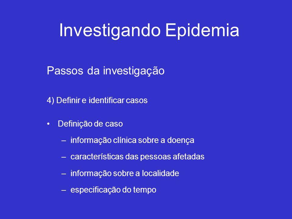Investigando Epidemia Passos da investigação 4) Definir e identificar casos Definição de caso –informação clínica sobre a doença –características das