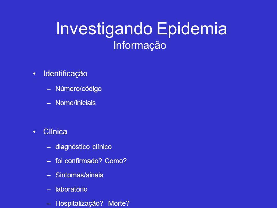 Investigando Epidemia Informação Identificação –Número/código –Nome/iniciais Clínica –diagnóstico clínico –foi confirmado? Como? –Sintomas/sinais –lab