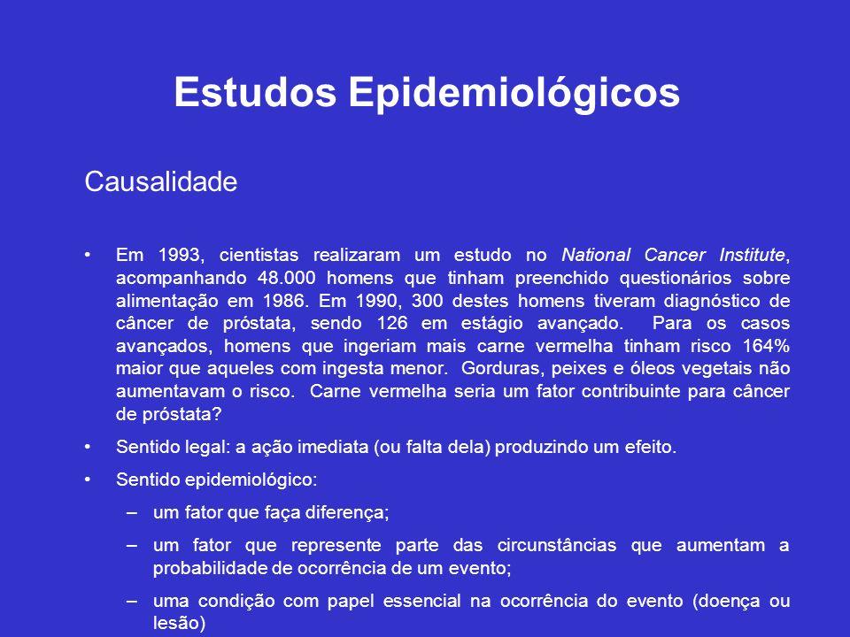 Estudos Epidemiológicos Causalidade Em 1993, cientistas realizaram um estudo no National Cancer Institute, acompanhando 48.000 homens que tinham preen