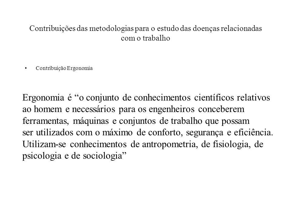 Contribuições das metodologias para o estudo das doenças relacionadas com o trabalho Contribuição Ergonomia Ergonomia é o conjunto de conhecimentos ci