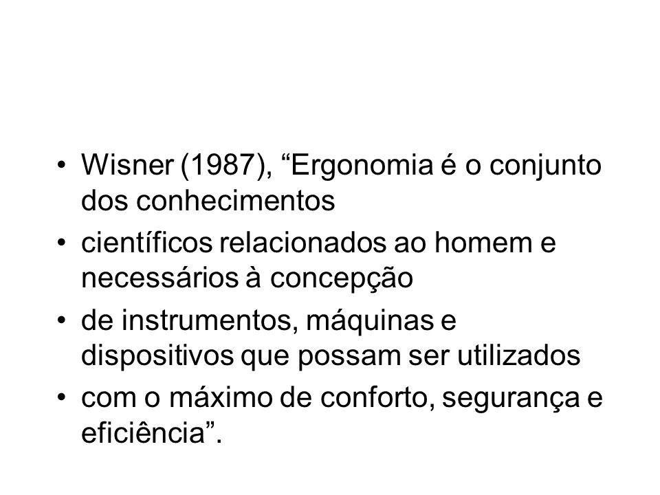 Wisner (1987), Ergonomia é o conjunto dos conhecimentos científicos relacionados ao homem e necessários à concepção de instrumentos, máquinas e dispos
