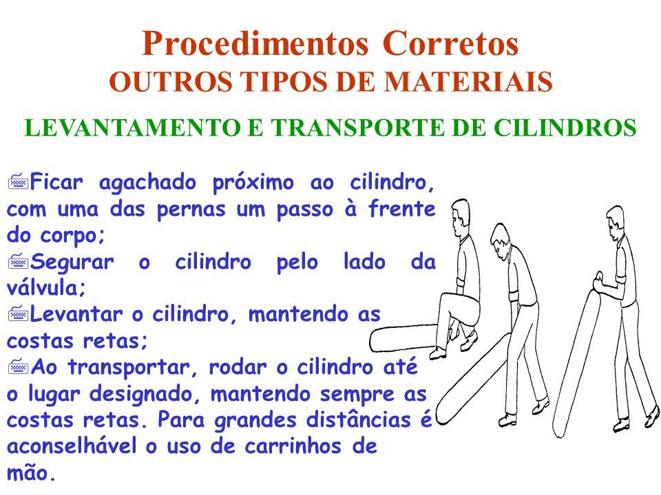 LEVANTAMENTO E TRANSPORTE DE CILINDROS Procedimentos Corretos OUTROS TIPOS DE MATERIAIS 7Ficar agachado próximo ao cilindro, com uma das pernas um pas