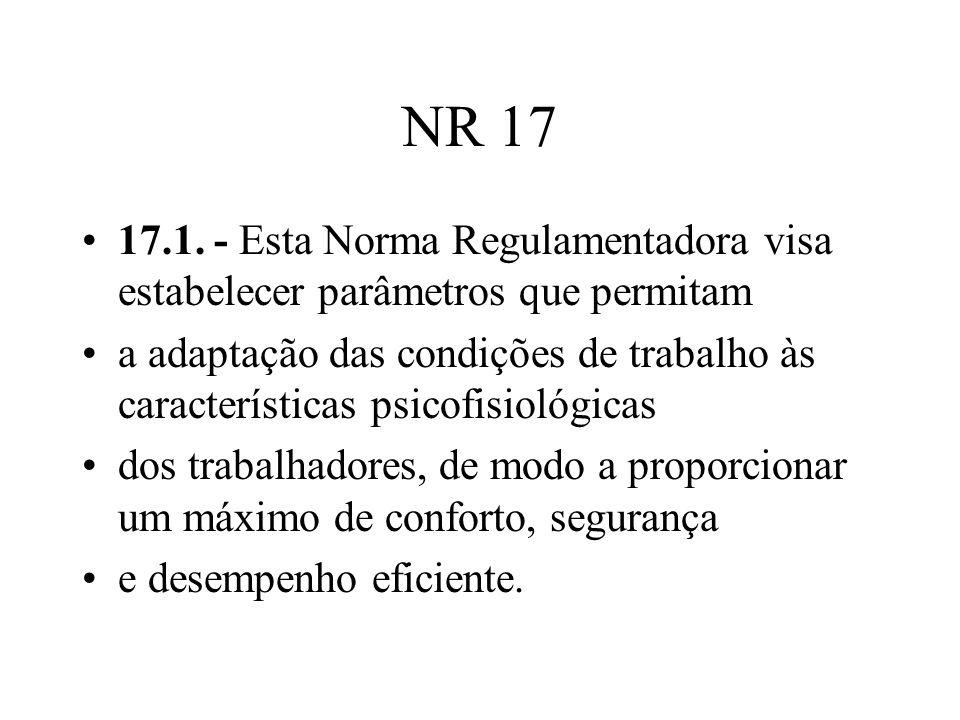 NR 17 17.1. - Esta Norma Regulamentadora visa estabelecer parâmetros que permitam a adaptação das condições de trabalho às características psicofisiol