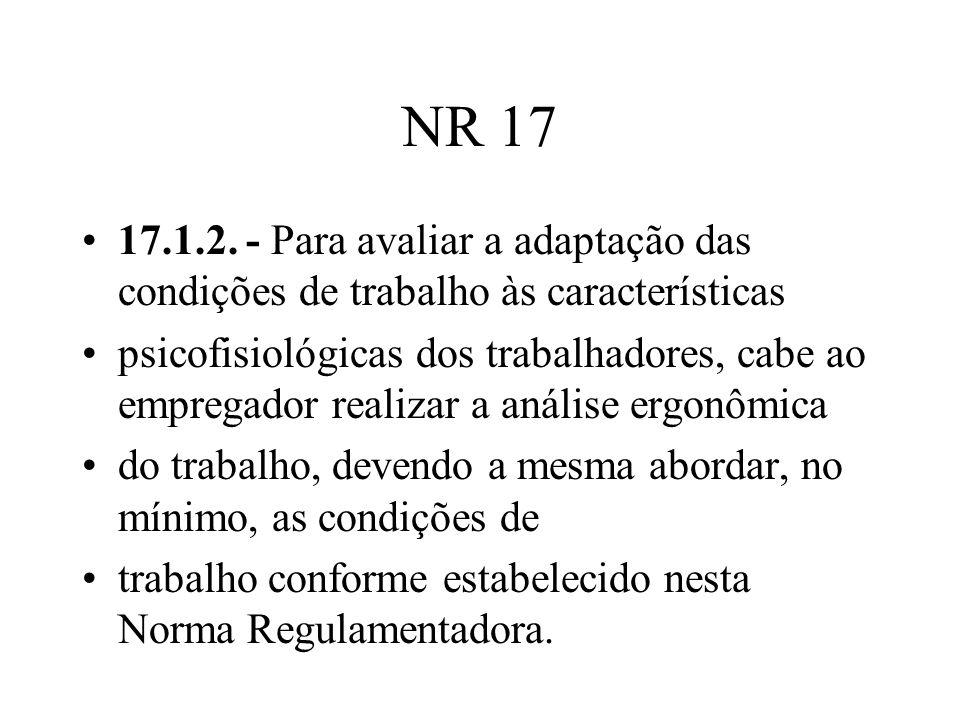 NR 17 17.1.2. - Para avaliar a adaptação das condições de trabalho às características psicofisiológicas dos trabalhadores, cabe ao empregador realizar