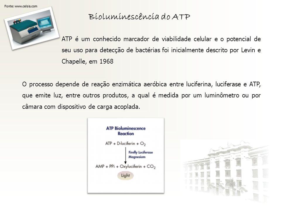 Bioluminescência do ATP Fonte: www.celsis.com ATP é um conhecido marcador de viabilidade celular e o potencial de seu uso para detecção de bactérias f
