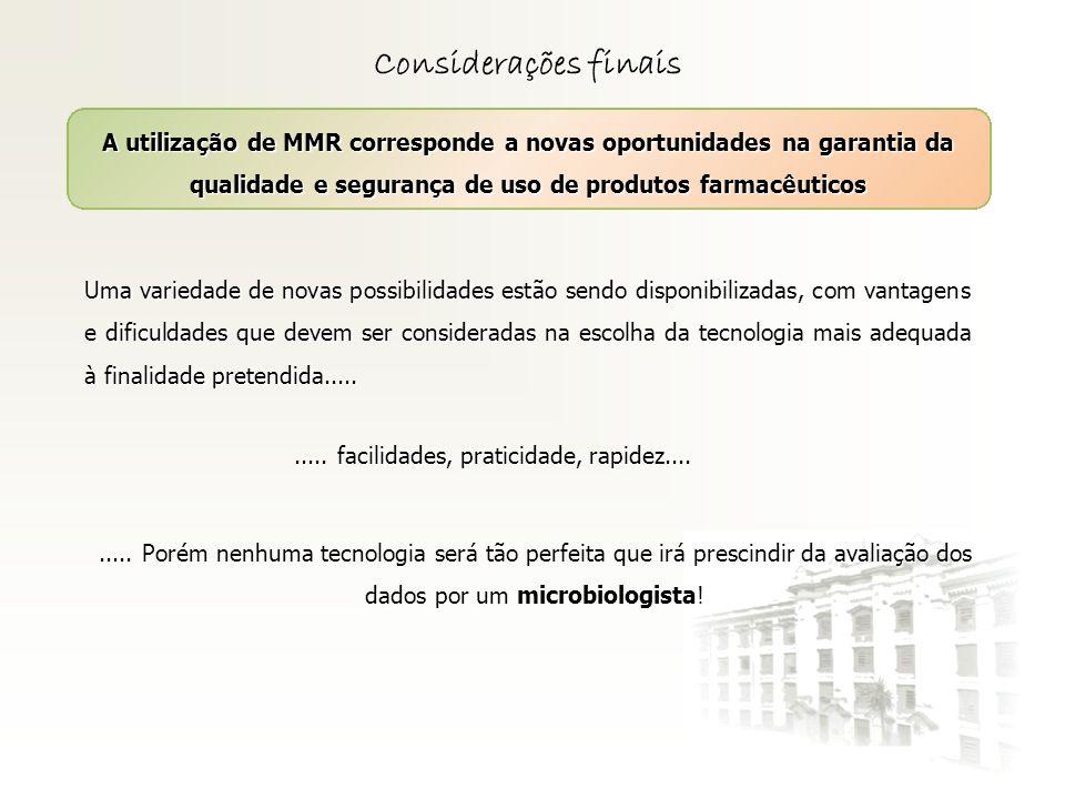 Considerações finais A utilização de MMR corresponde a novas oportunidades na garantia da qualidade e segurança de uso de produtos farmacêuticos Uma v