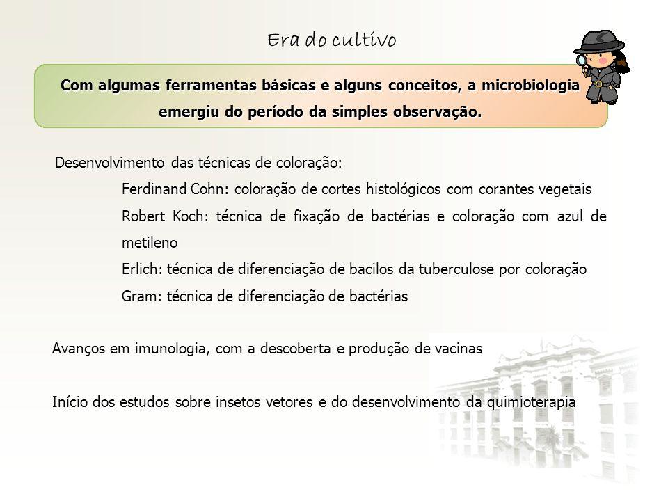 Era do cultivo Com algumas ferramentas básicas e alguns conceitos, a microbiologia emergiu do período da simples observação. Desenvolvimento das técni