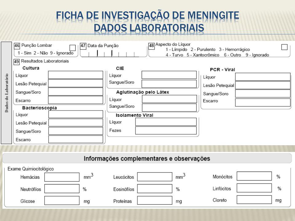 1 - Cultura ( líquor, sangue/soro, lesão petequial) 2 – CIEF ( líquor, sangue/soro, lesão petequial) 3 – Látex ( líquor, sangue/soro, lesão petequial) 4 – Clinico ( Clinica, Necropsia, Declaração de Óbito ) 5 – Bacterioscopia 6 – Quimiocitológico 7 – Clinico-epidemiológico 8 – Isolamento viral (liquor, fezes) 9 – PCR ( liquor, sangue/soro) 10 – Outra técnica laboratorial ( TCC, Ressonância magnética, sorologias )