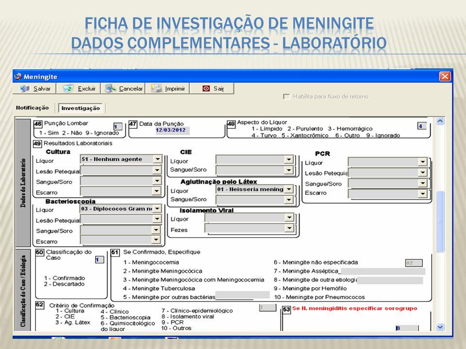 Critério diagnóstico Etiologia 1 Cultura 2 CIEF 3 Látex 4 Clínico 5 Bacterioscopia 6 Quimiocitológico 7 Clínico Epidemiológico 8 Isolamento Viral 9 PCR Doença Meningocócic MCC 1 MM 2 MCC+M M 3 Meningite tuberculosa 4 Meningite por outras bactérias 5 Meningite não especificada 6 Meningite viral 7 Meningite por outra etiologia 8 Meningite por Haemophilus influenzae 9 Meningite pnemocócica 10 Diagnóstico inconsistente com critério 9 Outra Técnica Laboratorial